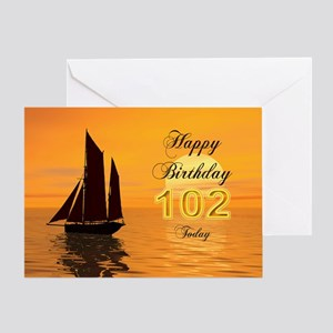 102nd Birthday card with sunset yacht Greeting Car