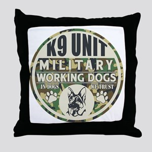 K9 Unit Military Working Dogs Throw Pillow