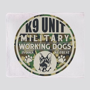 K9 Unit Military Working Dogs Throw Blanket
