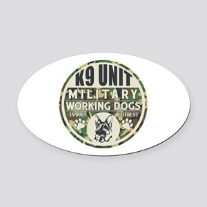K9 Unit Military Working Dogs Oval Car Magnet