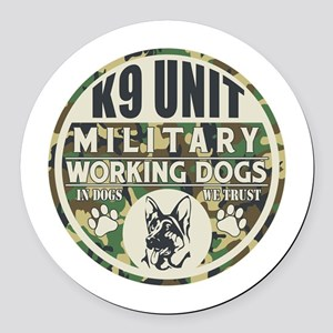 K9 Unit Military Working Dogs Round Car Magnet