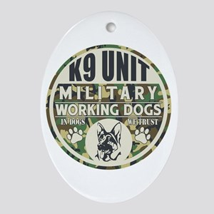 K9 Unit Military Working Dogs Ornament (Oval)