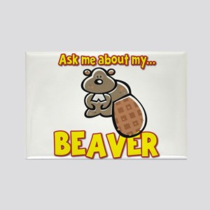Funny Ask Me About My Beaver Humor Design Rectangl