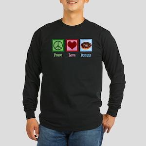 Peace Love Donuts Long Sleeve Dark T-Shirt