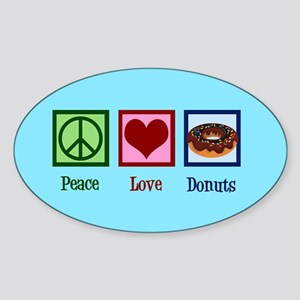 Peace Love Donuts Sticker (Oval)