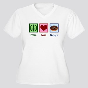 Rainbow Heart Women's Plus Size V-Neck T-Shirt