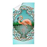 Celtic Flamingo Art Beach Towel
