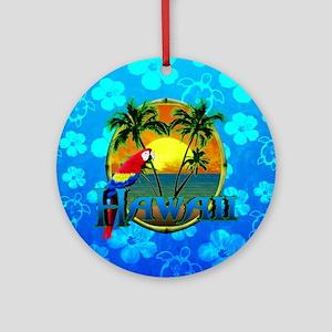Hawaii Sunset Blue Honu Ornament (Round)