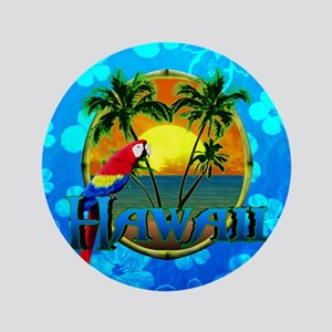 "Hawaii Sunset Blue Honu 3.5"" Button"