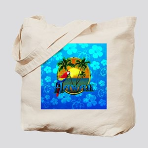 Hawaii Sunset Blue Honu Tote Bag