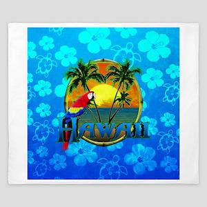 Hawaii Sunset Blue Honu King Duvet
