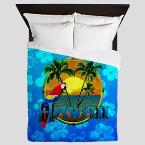 Hawaii Sunset Blue Honu Queen Duvet