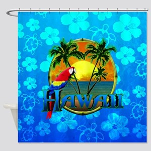 Hawaii Sunset Blue Honu Shower Curtain
