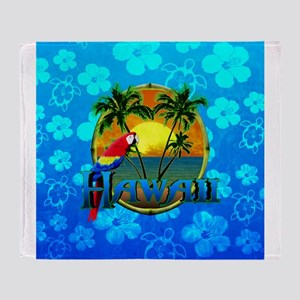 Hawaii Sunset Blue Honu Throw Blanket