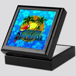 Hawaii Sunset Blue Honu Keepsake Box