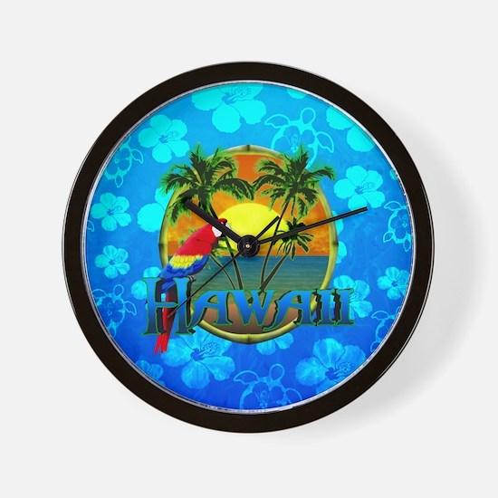 Hawaii Sunset Blue Honu Wall Clock