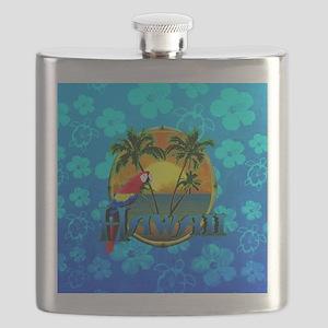 Hawaii Sunset Blue Honu Flask