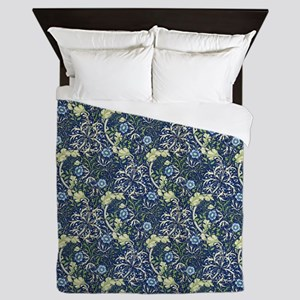 Morris Blue Daisies with Repeats Queen Duvet