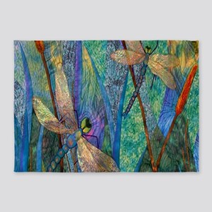 Colorful Dragonflies 5'x7'Area Rug