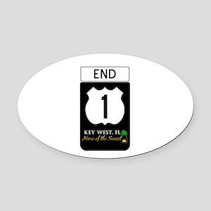 Highway 1 Key West Oval Car Magnet