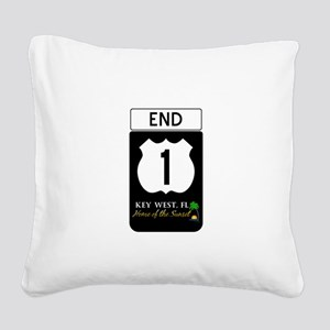 Highway 1 Key West Square Canvas Pillow