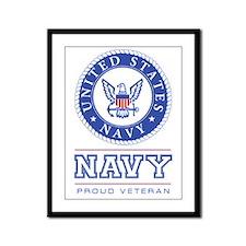 Navy - Proud Veteran Framed Panel Print
