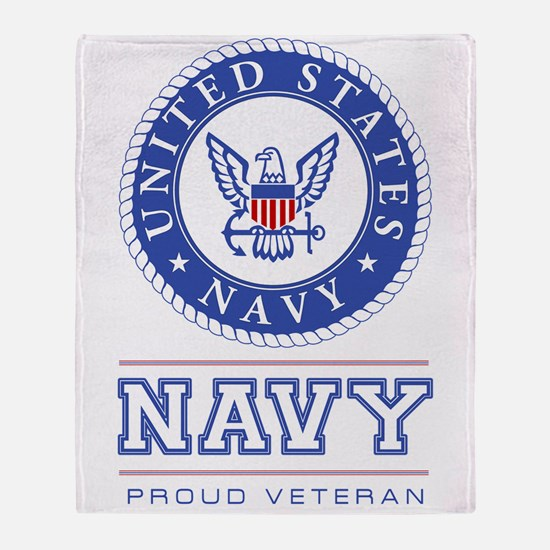 Navy - Proud Veteran Throw Blanket