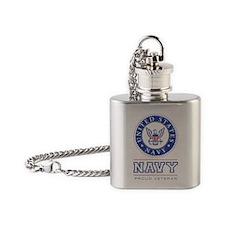 Navy - Proud Veteran Flask Necklace