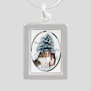 Shetland Sheepdog Christmas Silver Portrait Neckla