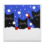 Black CAT Snowball Fight ART Tile