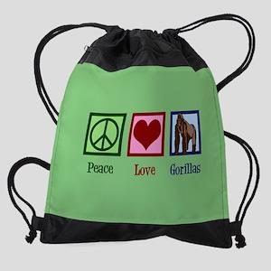 Peace Love Gorillas Drawstring Bag