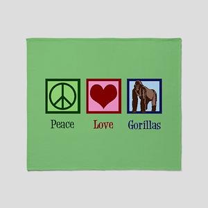 Peace Love Gorillas Throw Blanket