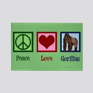 Peace Love Gorillas Rectangle Magnet