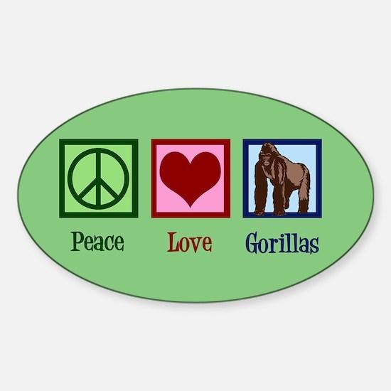 Peace Love Gorillas Sticker (Oval)