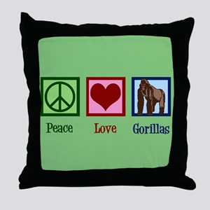 Peace Love Gorillas Throw Pillow