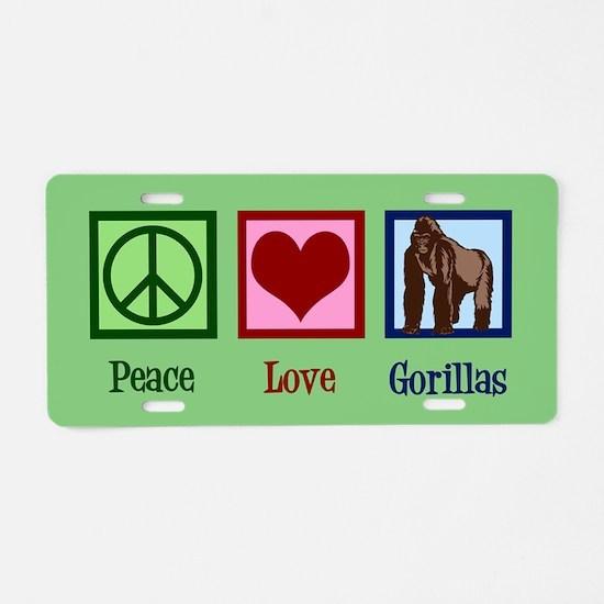 Peace Love Gorillas Aluminum License Plate