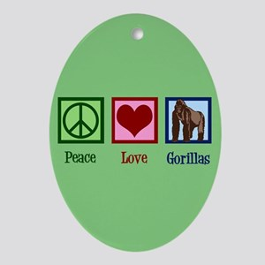 Peace Love Gorillas Oval Ornament