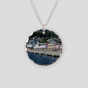 Ketchican, Alaska Necklace Circle Charm