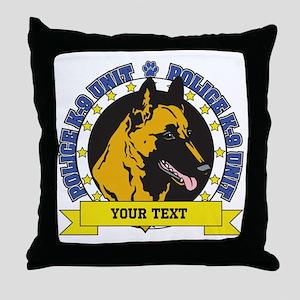 Personalized K9 Unit Belgian Malinois Throw Pillow
