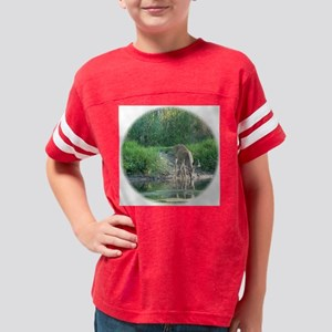 Round Deer Reflected in  pond Youth Football Shirt
