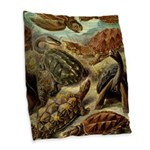 Beautiful Turtle Artwork Burlap Throw Pillow