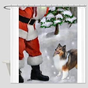 Shetland Sheepdog Christmas Shower Curtain