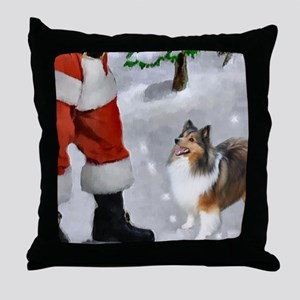 Shetland Sheepdog Christmas Throw Pillow