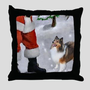 Shetland Sheepdog Christmas Throw Pillow