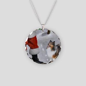 Shetland Sheepdog Christmas Necklace Circle Charm