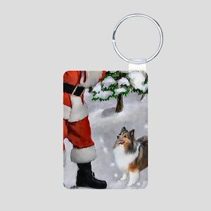 Shetland Sheepdog Christmas Aluminum Photo Keychai