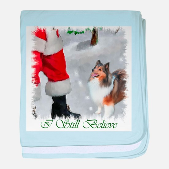 Shetland Sheepdog Christmas baby blanket