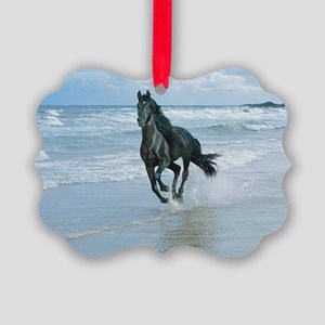 Black Arabian Horse-Beach Picture Ornament