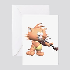 CAT AND VIOLIN Greeting Cards (Pk of 10)