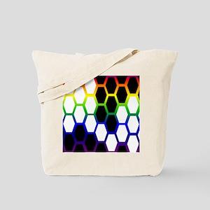 bucket A b n w hexagons on multi Tote Bag